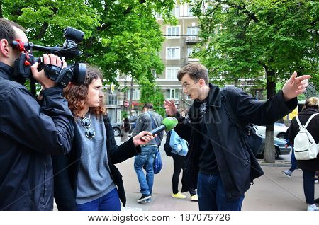 Kharkov, Ukraine - May 17, 2017: Participants Of The First Lgbt Action In Kharkov Give Interviews Ab