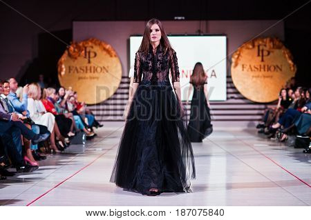 Ternopil, Ukraine - May 12, 2017: Fashion Models Wearing Evening Dress Clothes Designed Lidia Yanits