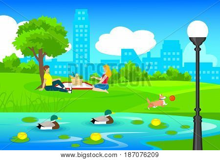 Picnic in city park template with dog playing with ball water lilies and ducks swimming in pond vector illustration