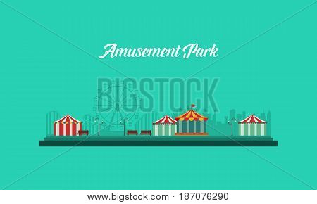 Background amusement park and carnival vector flat