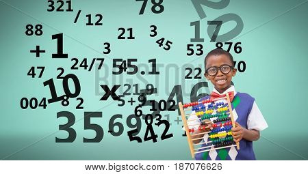 Digital composite of Digitally generated image of boy with numbers flying against green background