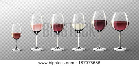 Realistic full glasses collection with red pink and white wines on transparent background isolated vector illustration