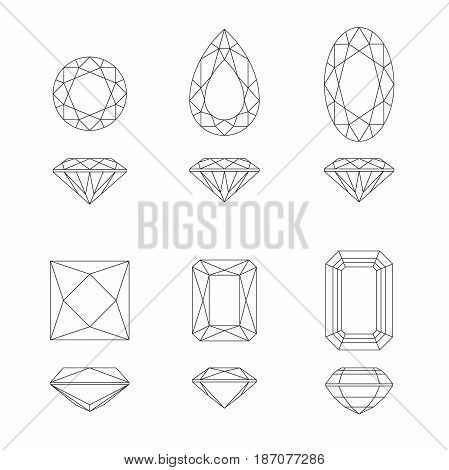 Diamonds cut line drawings in top and side views. Vector gemstone shapes.