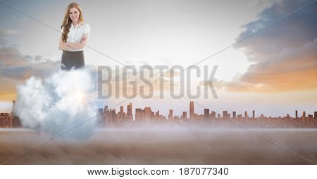 Digital composite of Digitally generated image of businesswoman on cloud against city