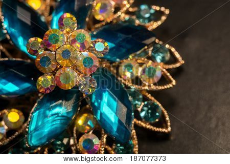 Blue Flower Shaped Brooch