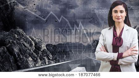 Digital composite of Digital composite image of businesswoman with mountain and graph on grid in background