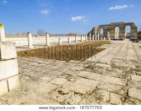 Ruins Of The Great Basilica In Pliska, Capital Of The First Bulgarian Kingdom. Bulgaria