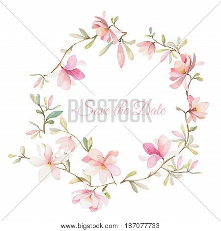 wreath of flowers in watercolor style on white background. handdrawn illustration