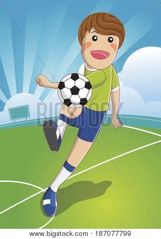 Soccer man Shooting. The Ball To Make A Goal. football. cartoon character vector illustration.