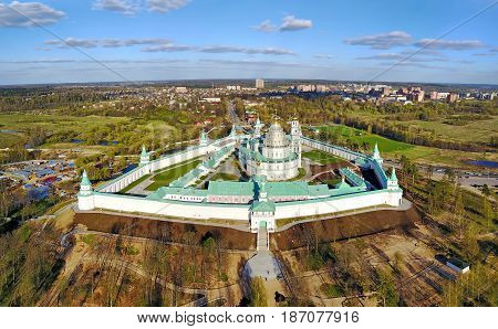 Aerial view on New Jerusalem monastery in Istra Moscow oblast Russia