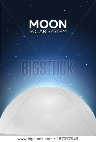 Poster Moon And Solar System. Space Background.