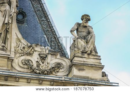 Paris France - May 1 2017: a beautiful architecture on the roof of the Cour Napoleon at the Louvre Museum on May 1 2017 in Paris France.