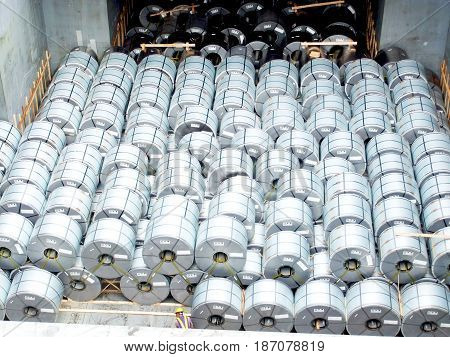 The holizontal steel coil stowage in the vessel