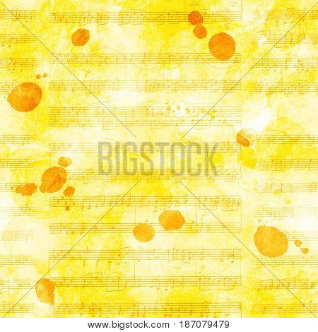 A seamless background pattern with sheet music and ink stains, golden toned
