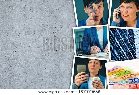 Woman in business and entrepreneurship photo collage over gray concrete background