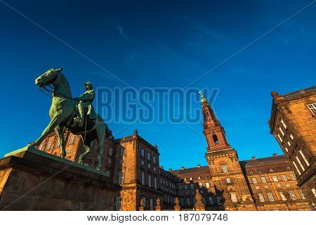 Equestrian statue of King Christian the 9th Copenhagen Denmark Inside the Danish Parliament Christiansborg palace