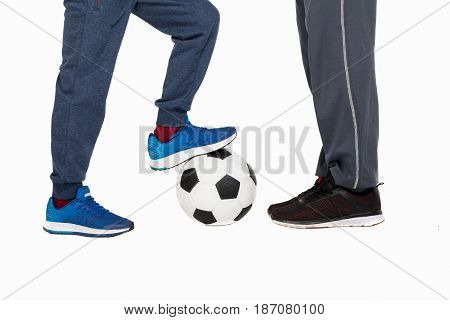 Cropped Shot Of Father With Son Playing Soccer Isolated On White