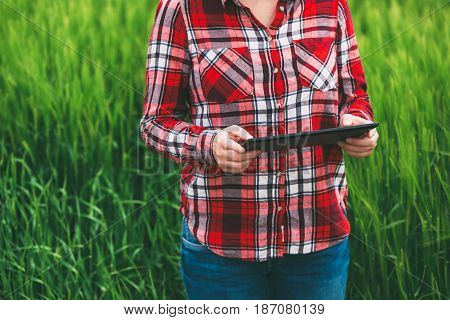 Female farmer using tablet computer in barley crop field concept of modern smart farming by using electronics technology and mobile apps in agricultural production