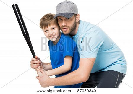 Father Teaching His Son How To Play Baseball Isolated On White