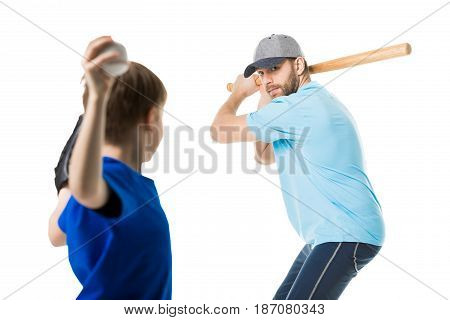 father ready to hit the ball by baseball bat isolated on white