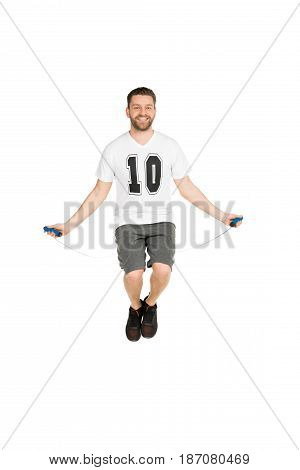 Active Man Jumping With Skipping Rope Isolated On White