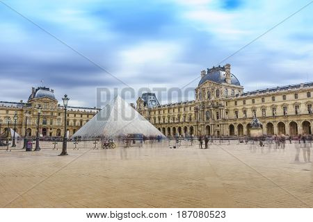 Paris France - May 1 2017: The Louvre Museum (Musee Du Louvre) with a cloudy day on May 1 2017 in Paris France.