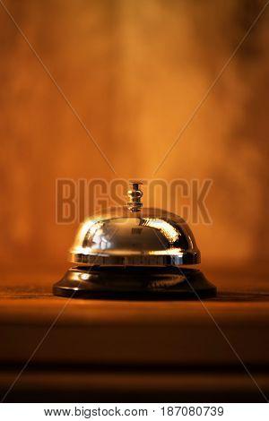 Restaurant service bell warm retro toned images elective focus