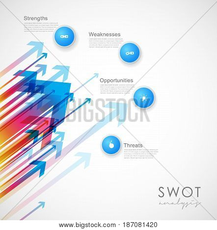 SWOT - (Strengths Weaknesses Opportunities Threats) business strategy mind map concept for presentations. Template with blue circles and arrows - light version.