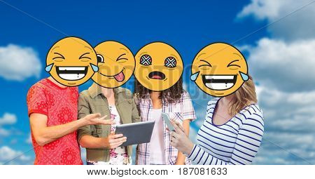 Digital composite of Digitally generated image of friends faces covered with emoji using digital tablet and smart phone a