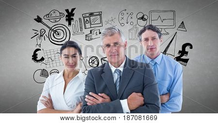 Digital composite of Portrait of business people with various icons against gray background