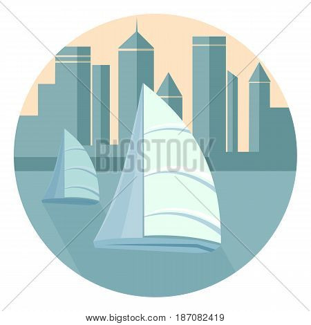 Sailing boats floating in the sea against the background of the city waterfront. Skyscrapers in the style of flat