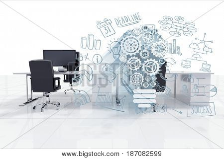 3D Digital composite of Digital composite image of gears by office chair at desk in office
