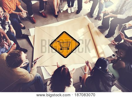 Showing Cart Trolley Shopping Online Sign
