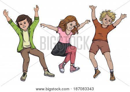 Children jumping on white background. Vector illustration