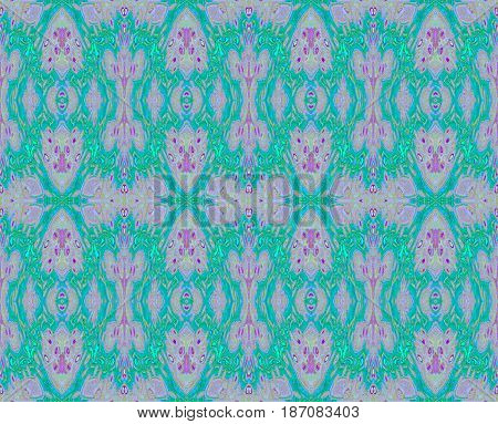 Abstract seamless background. Regular diamond pattern turquoise green, violet and purple.