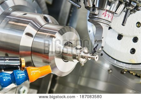 cutting tool at metal working on lather machine