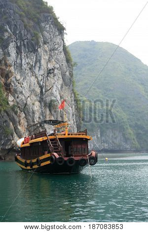 Travel boat near Cat Ba island Halong Bay Vietnam
