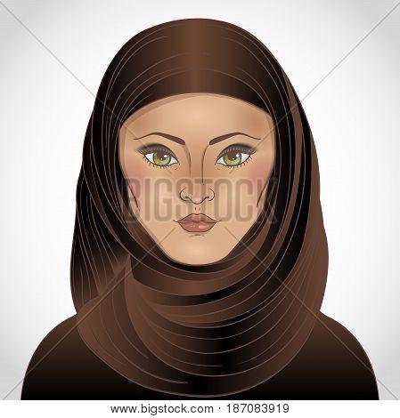 Portrait of arabic muslim woman. Vector illustration