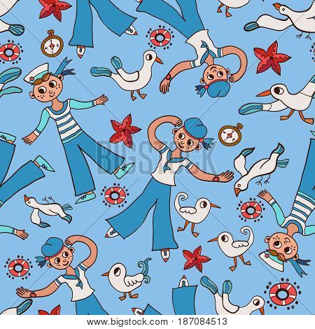 Baby Doodle seamless pattern sailor boy and gull