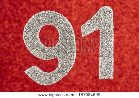 Number ninety-one silver color over a red background. Anniversary. Horizontal
