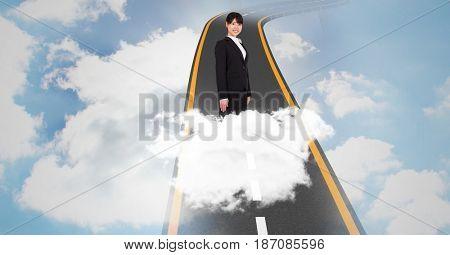 Digital composite of Digital composite image of businesswoman standing on highway in sky