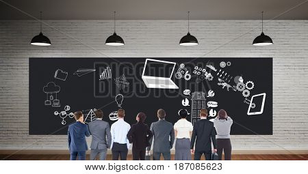 Digital composite of Colleagues looking at bill board with business icons