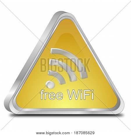 golden free wireless WiFi button - 3d illustration
