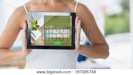 Digital composite of Midsection of woman showing digital tablet with signup screen