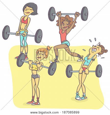 Funny vector cartoon with group of woman exercising with weights, one is all sweaty and struggling