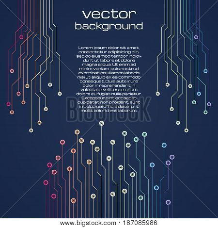 Abstract technological dark blue background with colorful elements of the microchip. Circuit board background texture. Vector illustration.