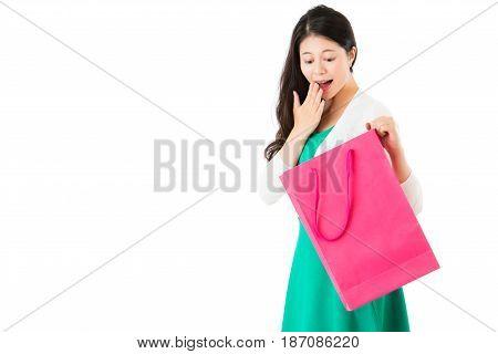 Surprised Woman Looking Pink Shopping Bag