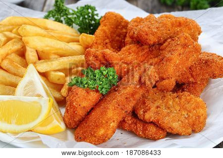 Crispy Homemade Breaded Chicken Nuggets Close-up