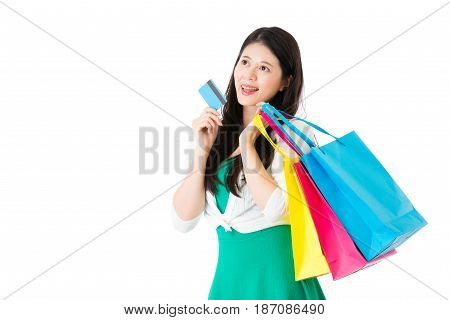 Girl Using Credit Card E-commerce Shopping