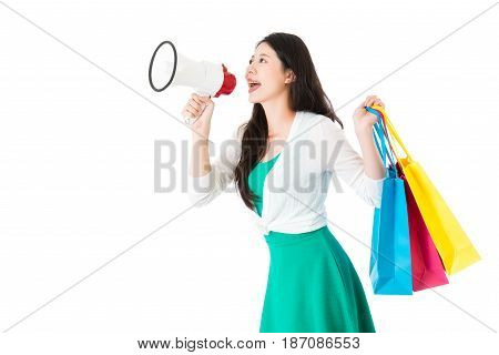 Woman Holding Loud Megaphone Call